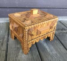Antique Tramp Art Box Folk Art chip carving carved wood