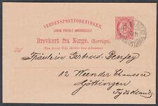 Norway 1891 Stationery Postcard Christiania to Gottingen
