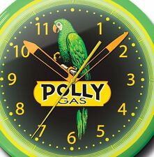 Polly Gas Nostalgic Gasoline Station Yellow Neon Clock Hand Made In USA 20 Inch