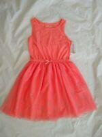 Cat & Jack Girl's Sleeveless Orange Brilliant Peach A-line Dress Size L(10/12)