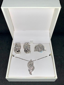 Rhodium Over Brass .25 CTTW 3 Piece Diamond Set Ring Earrings & Necklace NIB!