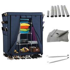 "69"" Portable Closet Storage Organizer Wardrobe Clothes Rack with Shelves Blue US"