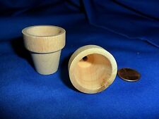 "Vintage Miniature Wood Pots 1 7/16' x 1 5/16"" Made in the USA set of 2"