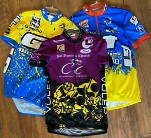 3- Voler/Aussie Cycling Jersey Mens size Large Zip Front Gold Rush California