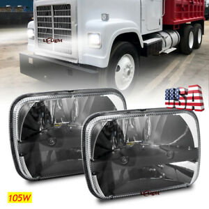"Pair  105W 7x6"" Round Led Headlights Hi/Lo for For Freightliner FL50 FL60 Trucks"