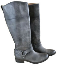 Frye Melissa Harness Tall Boot Grey Distressed Leather Side Zip Designer 6 NEW