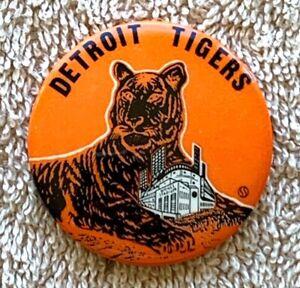 "Rare Vintage Baseball Briggs Stadium Detroit Tigers 1 3/4"" Pinback Button"