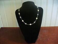 "LC Liz Claiborne Faux Pearl Clear Plastic Bead 16"" Silvertone Chain Necklace"