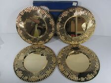 """RARE Set of 4 Gold Plated Royal Albert OLD COUNTRY ROSES Charger Metal Plate 14"""""""