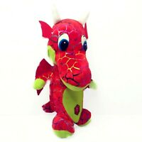 """Classic Toy Co Dragon Plush Stuffed Toy Red Green Sparkle Scales Wings Horns 10"""""""