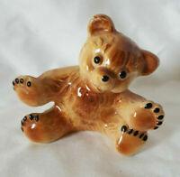 Bear Figurine Miniature Glazed Ceramic Porcelain Vintage