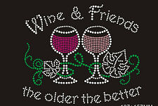 Wine Rhinestone iron on Bling Transfer DIY Hot fix Applique Wind and Friend