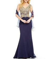 NWT $369 JVN by Jovani Beaded V-Neck Scalloped Scoop-Back Long Dress Navy SZ 2