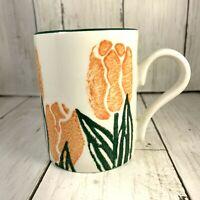 Arthur Wood England Coffee Tea Cup Mug Yellow Tulips Sponge Design Green Trim