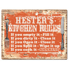 PPKR0938 HESTER'S KITCHEN RULES Chic Sign Funny Kitchen Decor Birthday Gift