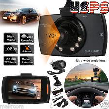 """Dual Camera 2.7""""HD 1080P Car DVR Cam Dashcam Recorder G-Sensor LED US Stock"""