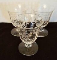 Navarre Clear Fostoria set of 3 Juice Glasses  etched glass stemware Vintage