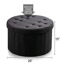 Fabric Folding Storage Ottoman Large Round Storage Bench Box Foot Rest Stool New