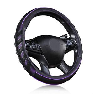 Purple Car Steering Wheel Cover Leather Universal 15' Auto Accessories Anti-slip