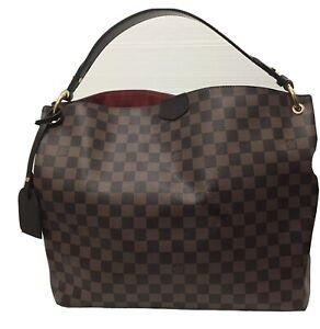 Louis Vuitton Graceful MM Canvas Damier Ebene Tote Bag TX0178 Authentic