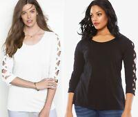 Women's plus size 18/20 or 22/24 2X 3X lattice 3/4 sleeve Top BLACK