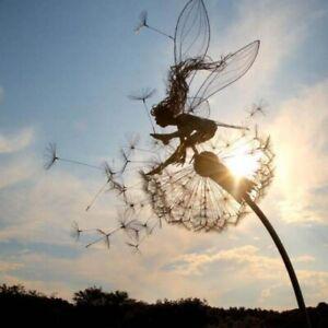 Dancing Fairy Dandelion Statue Ornament Garden Stakes Sculpture Craft Landscape