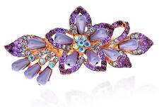 Purple Rainbow Pearls & Rhinestones Flower Hair Barrette Accessories HA138