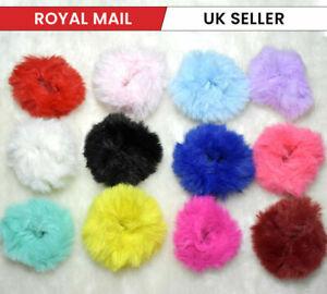 2x Plush Hair Scrunchies Faux Fur Hair Tie Rope Elastic Hair Band Bobbles UK