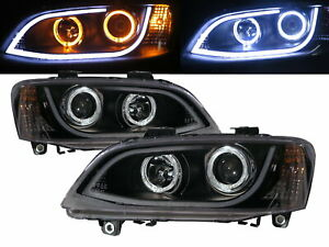 Commodore VE MK4 06-10 Guide LED Angel-Eye Projector Headlight BK for HOLDEN LHD