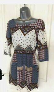 H&M Boho Patchwork Bandana Print Mini Dress With Pockets size 8