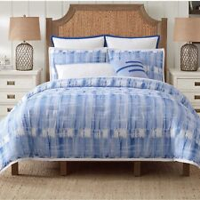 VINCE CAMUTO Nantucket BLUE Abstract Reversible TWIN Comforter Sham Set NEW 2Pc
