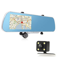 "5"" Android HD 1080P WIFI Car GPS Nav Rear View Mirror DVR  Dash & Reverse Camera"