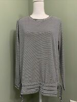 AnyBody Cozy Knit Striped Top w/ Drawcord Hem - Navy/Cream - Medium