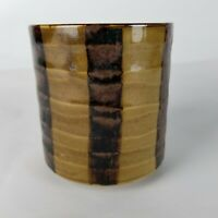 "Vintage Paul Marshall Planter Green Brown Stripe Glaze MCM Japan Pottery Vase 5"""
