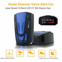 360° Voiture 16Bande V7 GPS Vitesse Sécurité Détecteur Radar Alerte vocale Laser