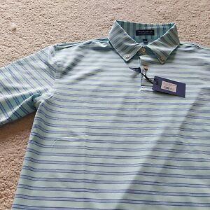 Peter Millar Golf Polo.As worn Lee Westwood.BNWT.Mint Green & Blue hoop. Medium
