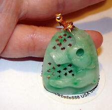 WOW!14K SOLID Y Gold Bale  Natural Green Jade Horse Head Pendant 47ct AAA+ Grade