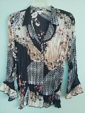 JAIPUR Womens' Black Embellished Long Sleeves Polyester Blouse, size XL