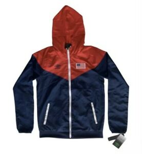 Umbro Youth USA Soccer Hooded Windbreaker Jacket Water Resistant Youth M (8-10)