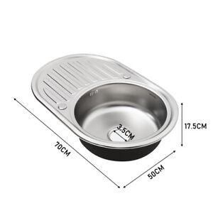 Stainless Steel Kitchen Sink Catering Single Bowl Topmount Round Basin & Waste