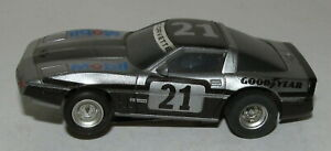 Tomy '84 Corvette Grey w/ Black Mobil #21 Slot Car #8757, Magnatraction Chassis