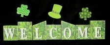 NWT ~ St. Patrick's Day Welcome Green Wooden Block Sitters w/ Pop-ups Decoration
