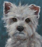 Original Oil Painting Portrait Of A West Highland Terrier Dog (British Art)