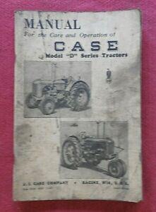 "1947 ORIGINAL CASE MODEL ""D"" TRACTOR OPERATION & CARE MANUAL GOOD SHAPE"