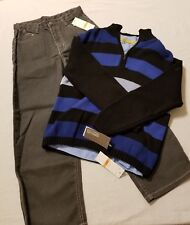 Nwt Kenneth Cole Reaction Boys Size 7 Pants Shirt Sweater 3 Set Gray Blue Black
