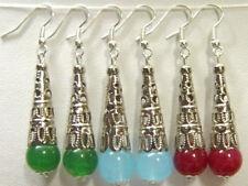 3Pair Beautiful Tibet Silver multicolor Jade Earrings