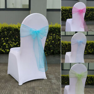 25Pcs Organza Chair Cover Band Bow Knot Slider Sashes Wedding Chair Back Decor