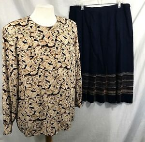 Sophisticates Pendleton Brown Ivory Blue Books Pleated Skirt Blouse Set 20W