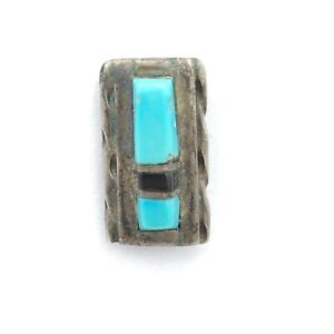 """STERLING turquoise onyx inlay tie tack - 925 silver vintage rectangular 1/2"""""""