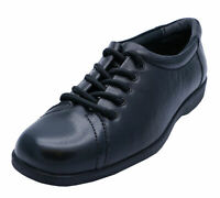 LADIES BLACK AMBLERS LEATHER LACE-UP WORK SCHOOL SMART CASUAL SHOES SIZE 4